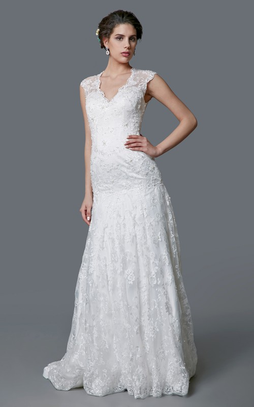 V-neck Cap-sleeve Mermaid Wedding Dress With Illusion back And Court Train