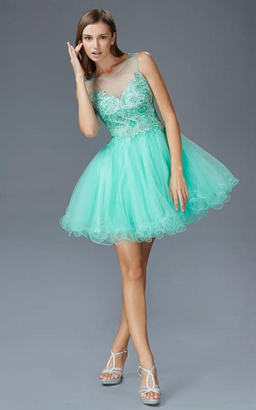 A-Line Illusion Ruffled Appliqued Short Mini Sleeveless Scoop-Neck Tulle Dress