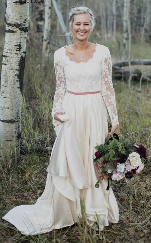 Scalloped Long Sleeve Lace And Satin Elegant Sheath Wedding Dress