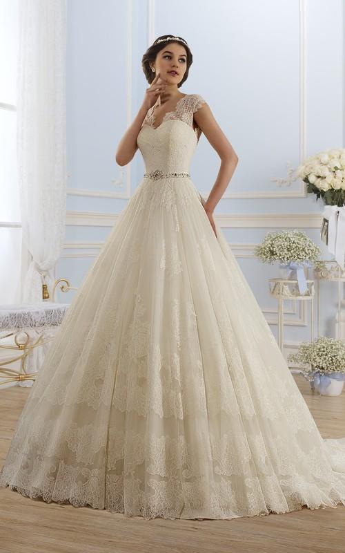 V-Neckline Appliqued Lace Pleats Ball-Gown Princess Keyhole Dress
