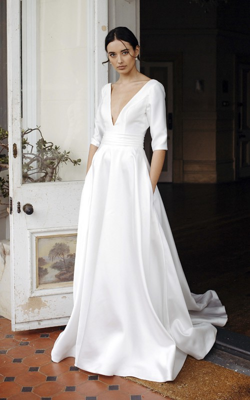 Sexy Elegant Plunging V-neck Satin Bridal Gown With 3/4 Sleeves And Court Train