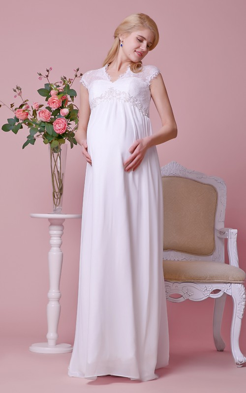 Chiffon Lace Top Waist A-Line Cap-Sleeved Gown