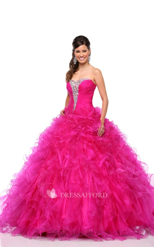 Sweetheart Lace-Up Back Cascading Ruffled Strapless Organza A-Line Ball Gown