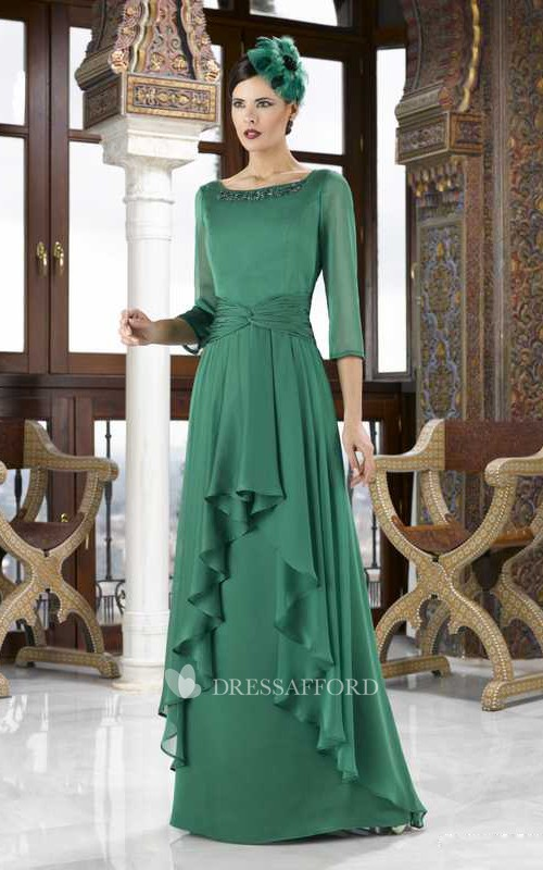 Scoop-neck 3-4-sleeve Draped Dress With Beading