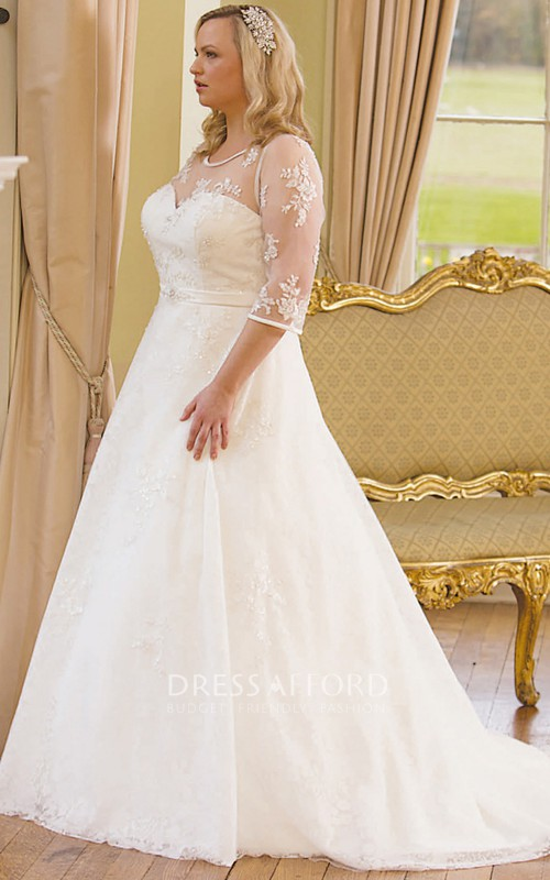 Illusion 3-4-sleeve Jewel-Neck plus size Wedding Dress With Sweep Train