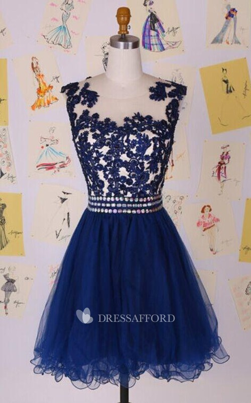 Short Appliqued Jewels Illusion Elegant Dress