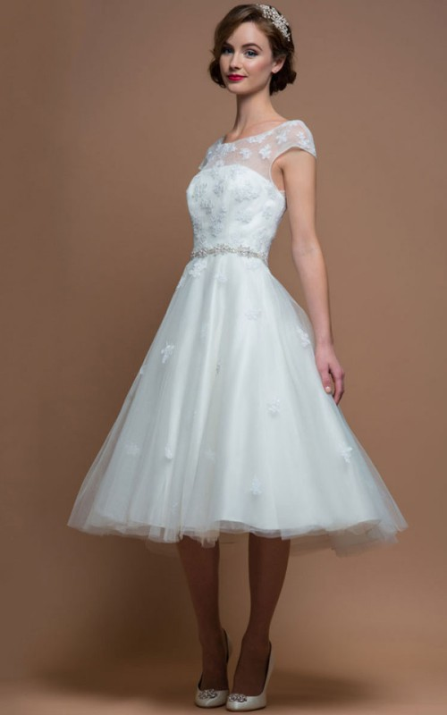 A-line Tea-length Cap Tulle Satin Wedding Dress With Appliques And Embellished Waist