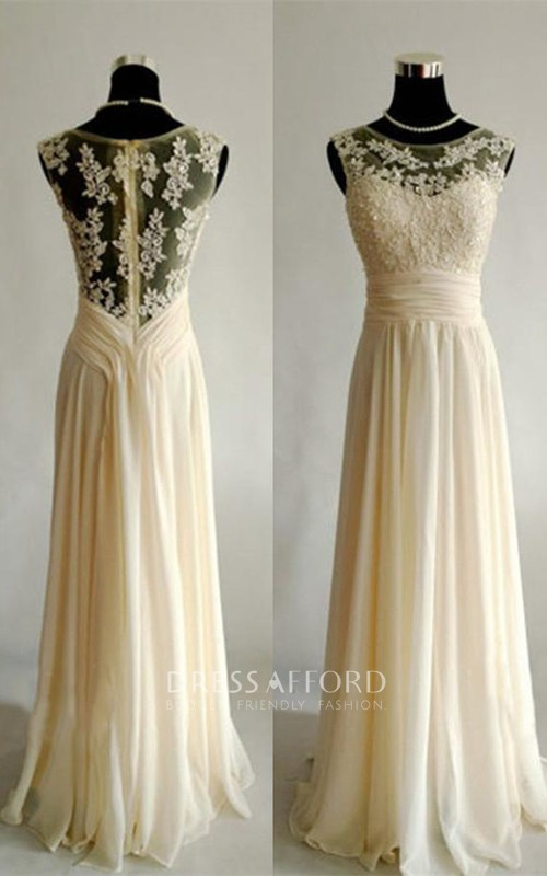Elegant Sleeveless Lace Appliques Prom Dress 2018 Long Chiffon
