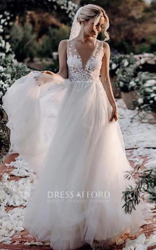 V-neck Lace Tulle Floor-length Deep-V Back A Line Wedding Dress with Appliques