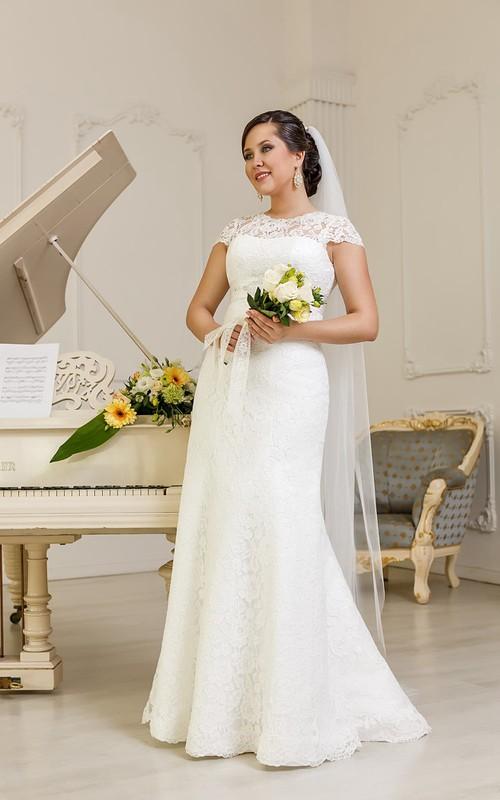 Cap-Sleeve Satin Sash Jewel Floor-Length Column Lace Dress