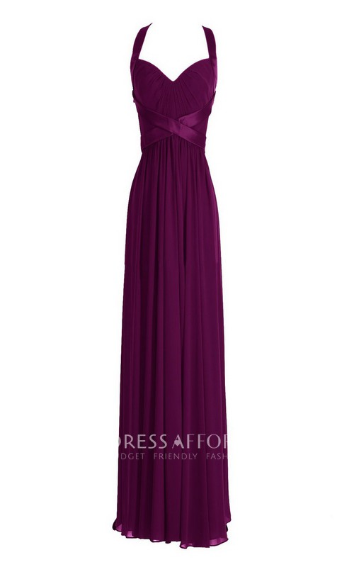 Long Crisscross High-Waist Sleeveless Chiffon Dress