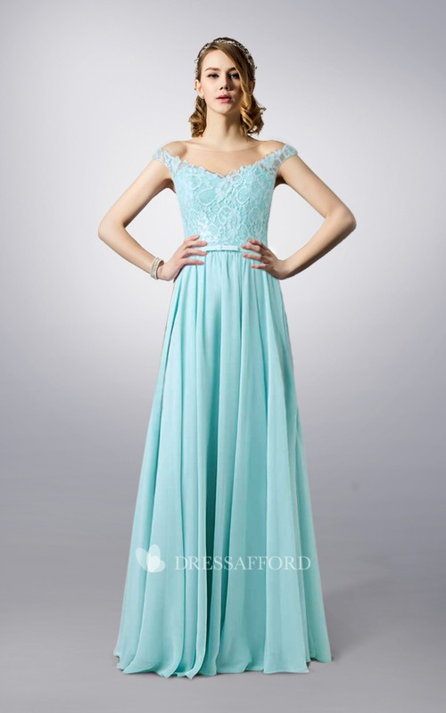 Illusion Off-the-shoulder A-line Chiffon Dress With Lace top