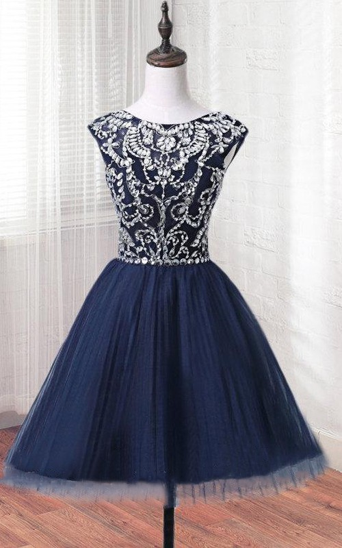 Mini Tulle Dress With Beading&Sequins