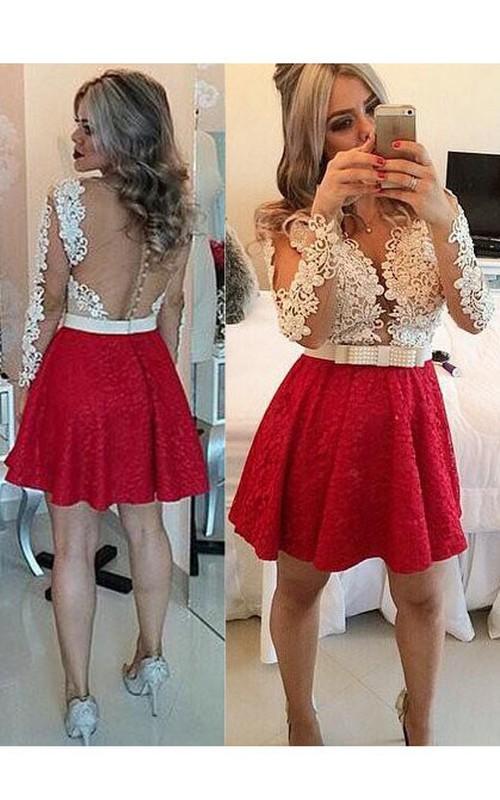 Long-Sleeve Lace Mini Short Keyhole-Back Beaded Dress