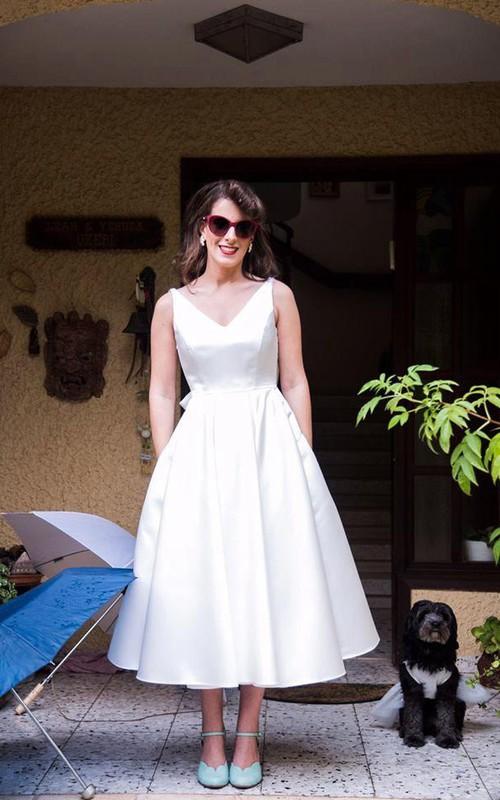 V-Neckline Back Bow Satin Tea-Length Sleeveless Gown