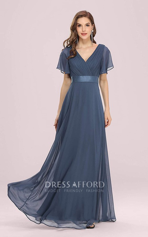 Romantic V-neck Chiffon A Line Short Sleeve Formal Mother Dress With Ruffles