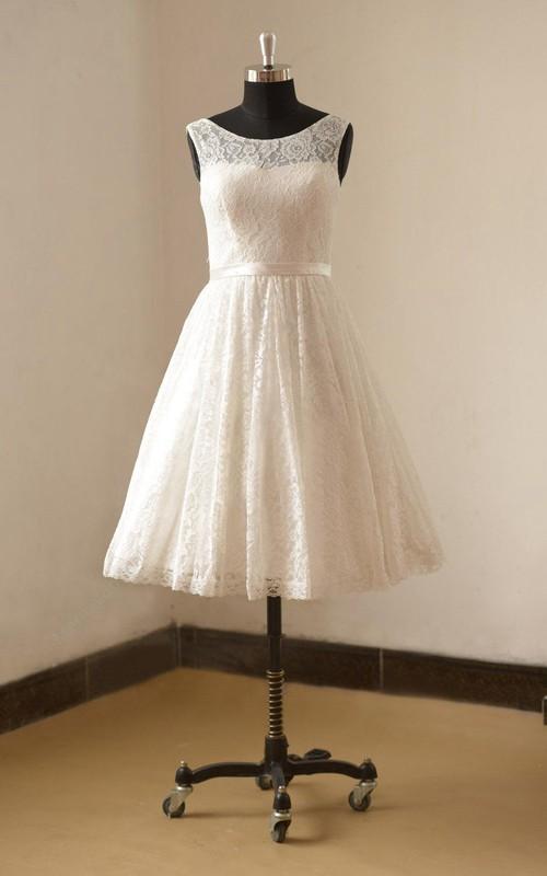 Lace Satin Ribbon Sleeveless Bateau-Neckline Dress
