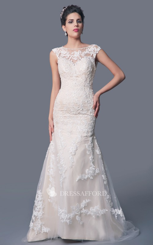 Lace Deep V Back Fishtail High-Neckline Wedding Gown
