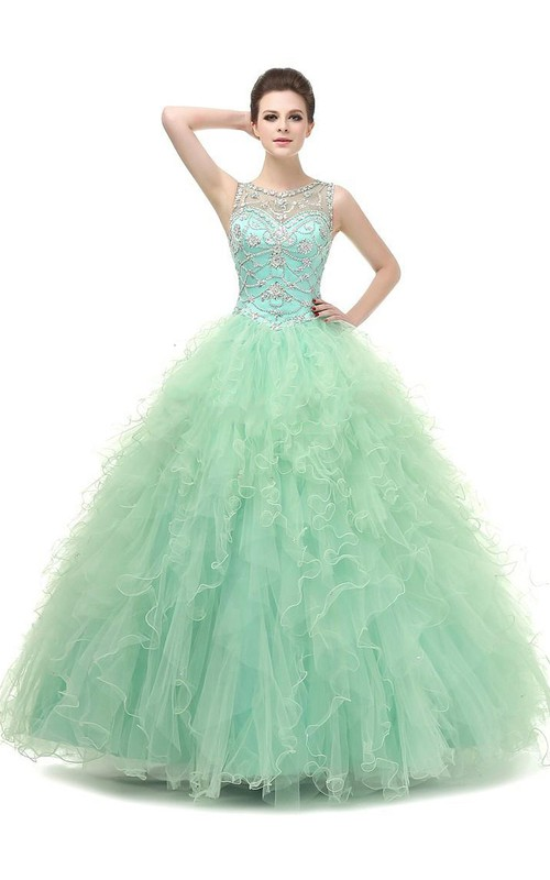 Full-Length Jeweled Tulle Sequined Ball Gown