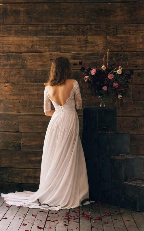 Chiffon Lace Bodice 3-4-Sleeve Romantic-Inspire Dress