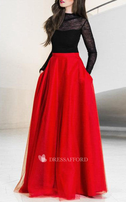 Jewel-Neck Illusion Long Sleeve A-line Tulle Dress With Lace
