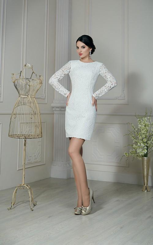 Illusion-Sleeve Short Column Lace Dress
