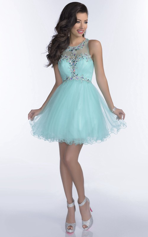 Scoop Sleeveless A-line Tulle short Dress With Beading And Ruffles
