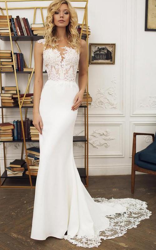 Jewel Satin%%Lace Sleeveless Court Train Button Illusion Mermaid Wedding Dress