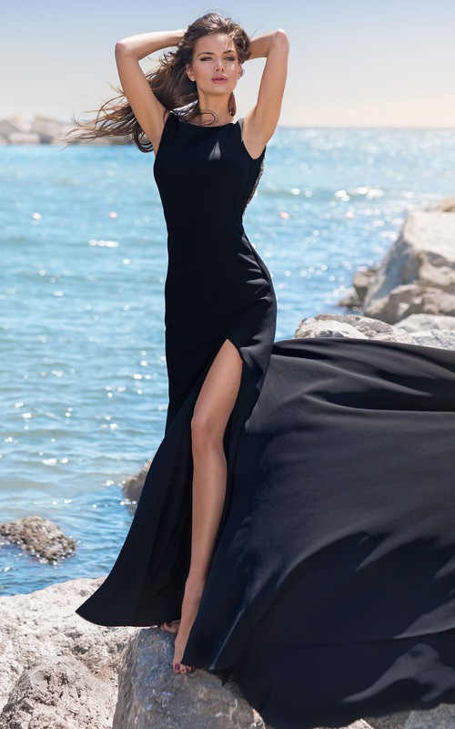 Sexy Sleeveless Mermaid Satin Bateau Evening Dress with Beading and Split Front
