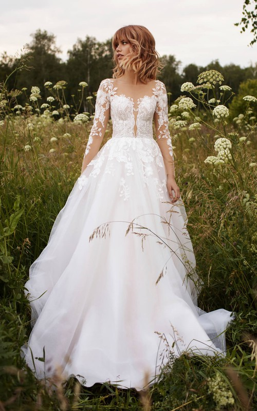 Adorable Illusion Sleeve Tulle Wedding Dress With Lace Details And Illusion Button Back