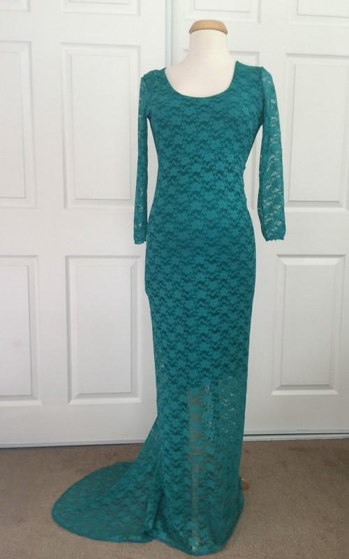 Sheath Scoop Lace Long Sleeve Floor-length Brush Train Lace Maternity Dress