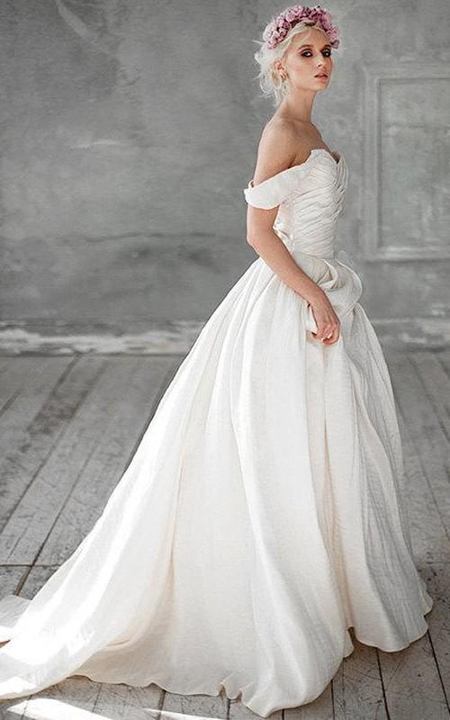 Wedding Ruched Beading A-Line Off-Shoulder Dress