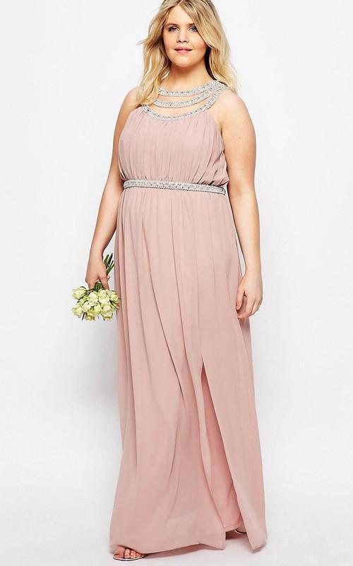 Sheath Floor-Length Scoop-Neck Sleeveless Chiffon Bridesmaid Dress With Beading And V Back