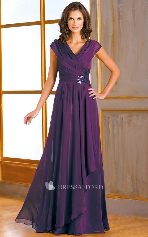 Cap-sleeve V-neck Side-draped long Mother of the Bride Dress
