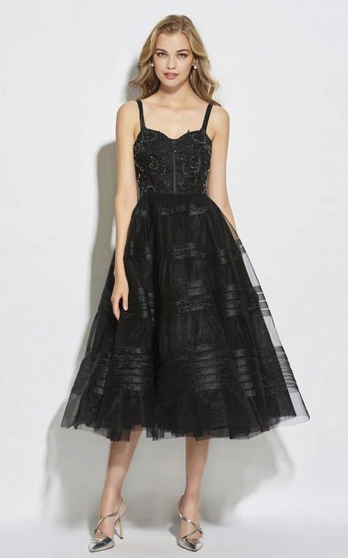 Cute Straps Vintage Tea-length A-line Boned Dress With Sweetheart Neckline And Beading