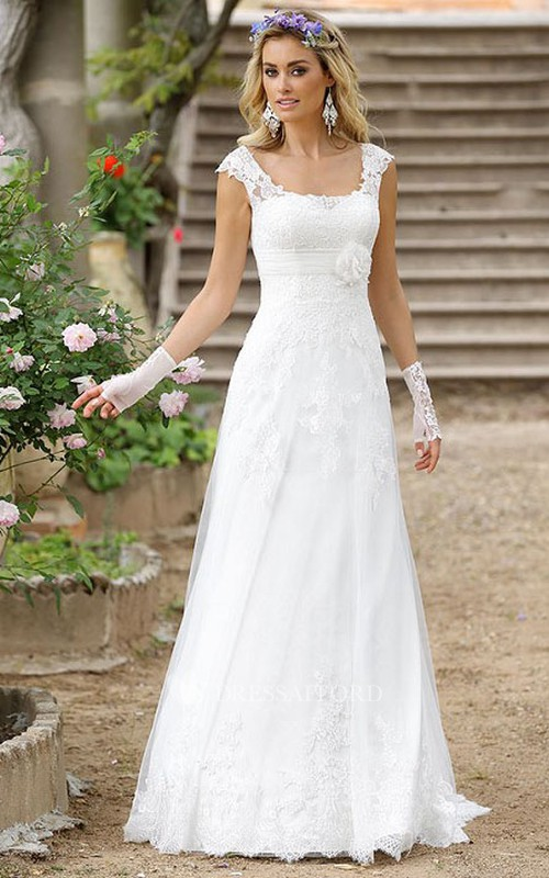 Cap-sleeve A-line Floor-length Wedding Dress With Flower And Appliques