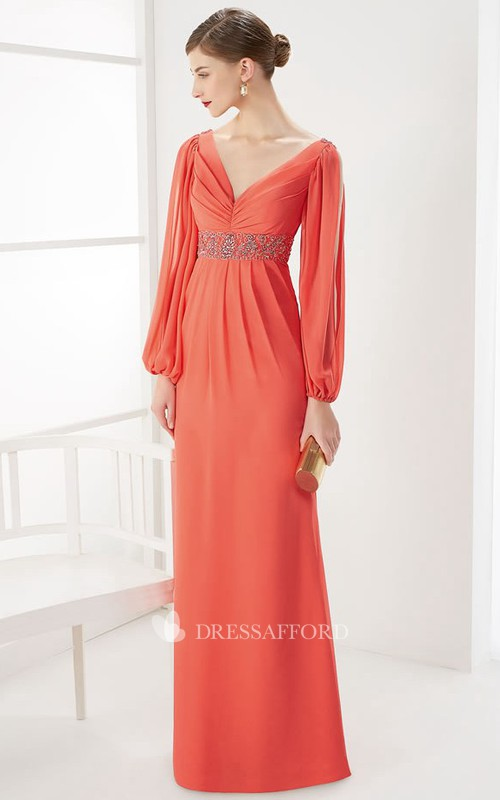 Plunged puff Long Sleeve Chiffon Dress With Embellished Waist