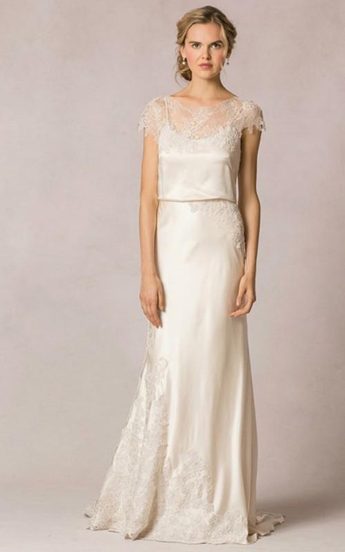 Cap-sleeve Bateau Sheath Lace Dress With Illusion back