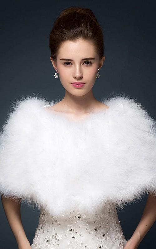 Bride Fur Ostrich Hair Shawl Cape Winter Wool Shawl