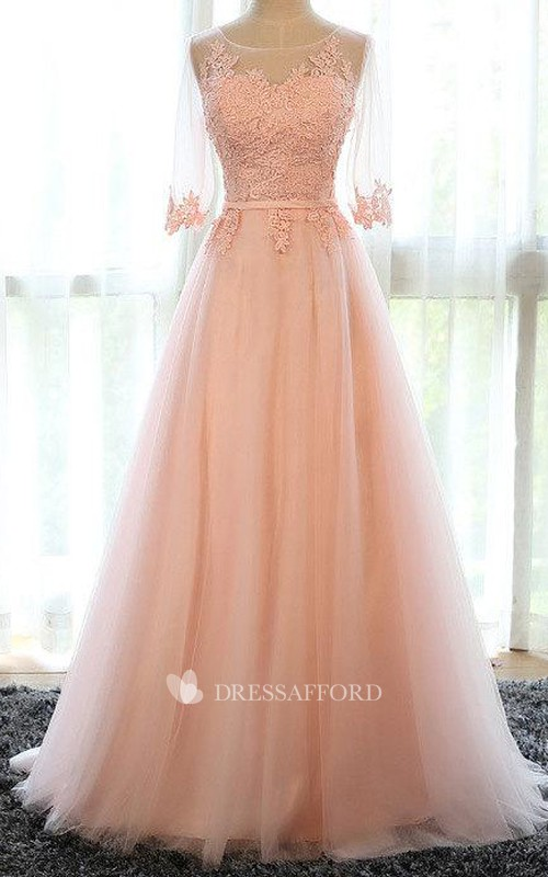 Illusion Bateau Half Sleeve Tulle A-line Dress With Appliques And Corset Back