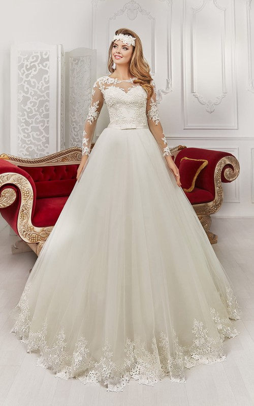 Bateau Floor-length Long Sleeve Illusion Back Appliques Dress With Bows