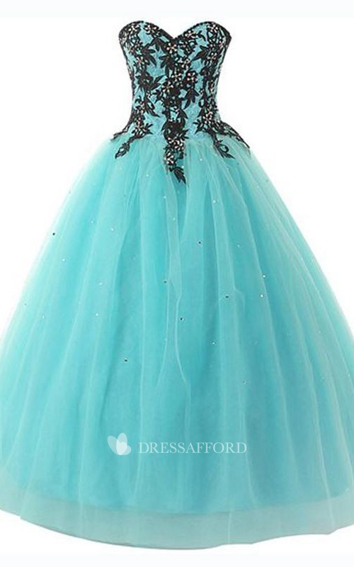 Long Sequined Lace Sweetheart Bell Appliqued Jeweled Lace-Up Ball Gown