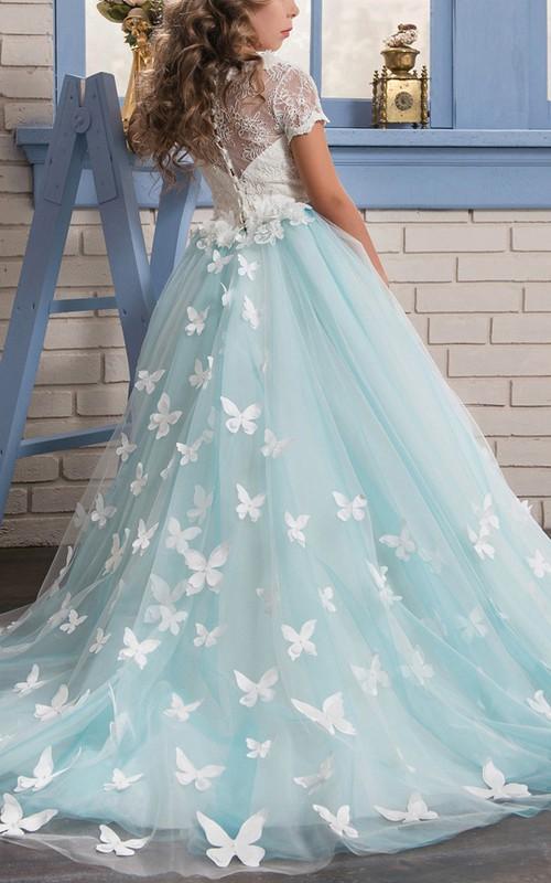 Tulle Scoop Short-Sleeve Appliqued Ball Gown Flower Girl Dress