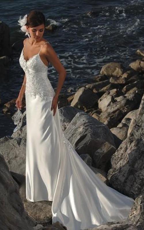 Satin Spaghetti-Strap Column Bridal Dress