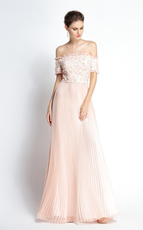 Floor-length A-Line Off-the-shoulder Short Sleeve Chiffon Prom Dress with Beading and Flowers