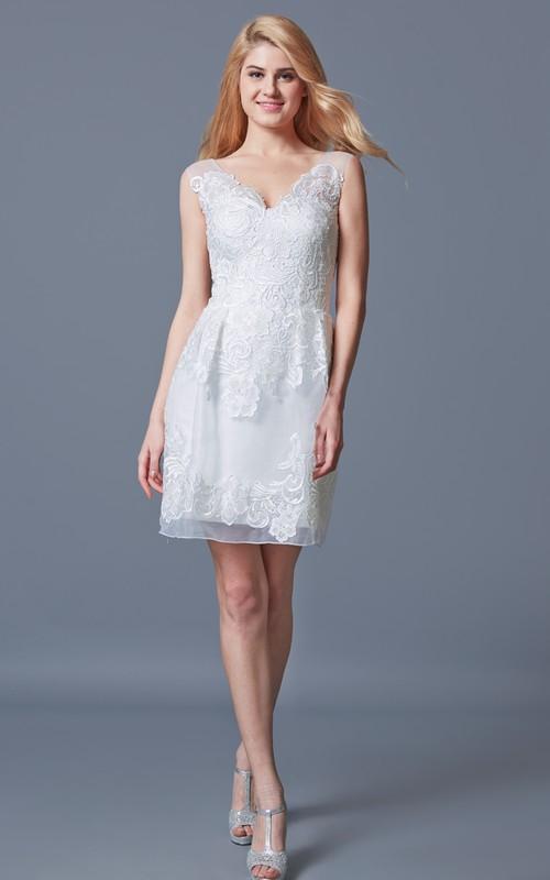 V-neck Sleeveless Pencil short Wedding Dress With Appliques