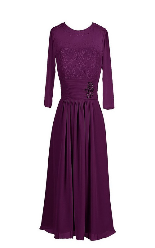 Embroidered Bodice Chiffon Long-Sleeve Dress