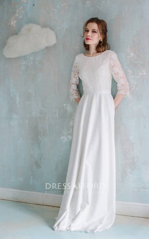 Lace Low-V Back Short-Sleeve Column Vintage-Inspire Gown