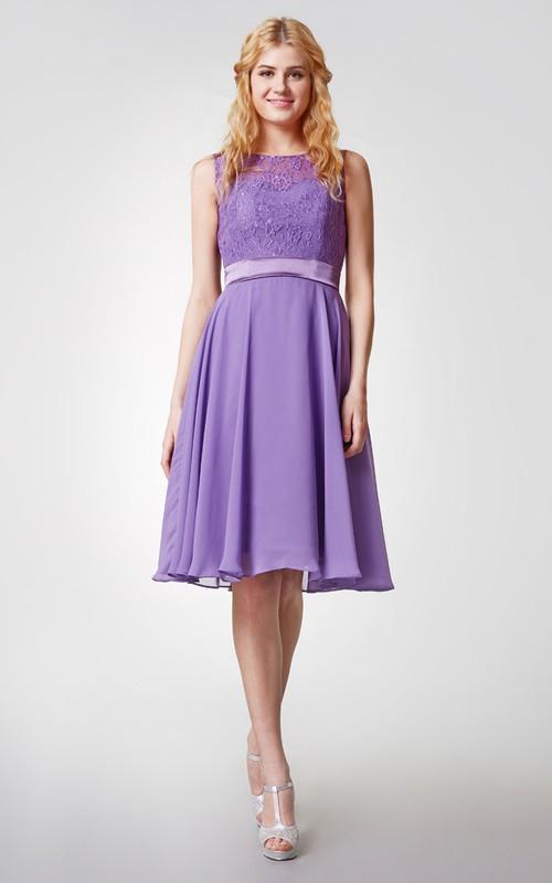 Chiffon Lace High-Neckline Short Bridesmaid Dress