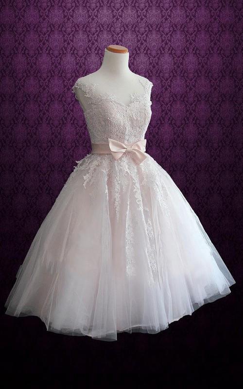 Tulle Satin Tea-Length Short Bridal Lace Dress